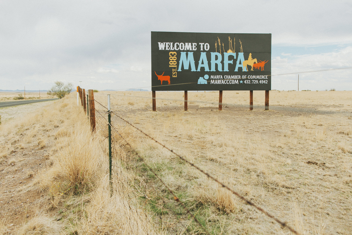 Welcome to Marfa sign on a road trip